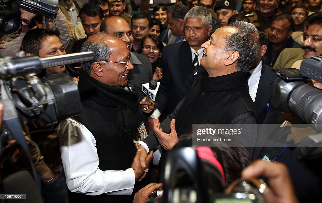 Rajasthan Chief Minister Ashok Gehlot and congress leader Digvijay Singh visiting the media center at Chintan Shivir, on January 19, 2013 in Jaipur, India. Rahul Gandhi was appointed as the Vice President of Congress Party by the Congress Working Committee.