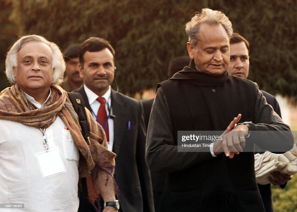 Rajasthan Chief Minister Ashok Gehlot and congress leader Jairam Ramesh, coming out from Chintan Shivir, on January 19, 2013 in Jaipur, India. Rahul Gandhi was appointed as the Vice President of Congress Party by the Congress Working Committee.