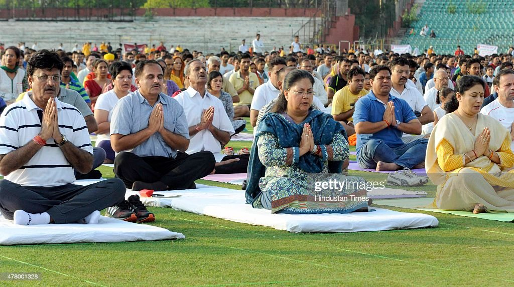Rajasthan Chief Minister Vasundhara Raje along with minister and senior officers participate in an event on the occasion of the first International...
