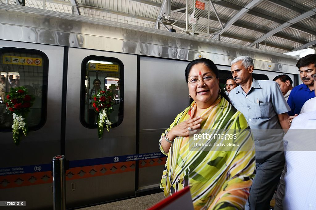 Rajasthan Chief Minister Vasundhara Raje at civil line metro station after flaging off the Jaipur Metro Rail
