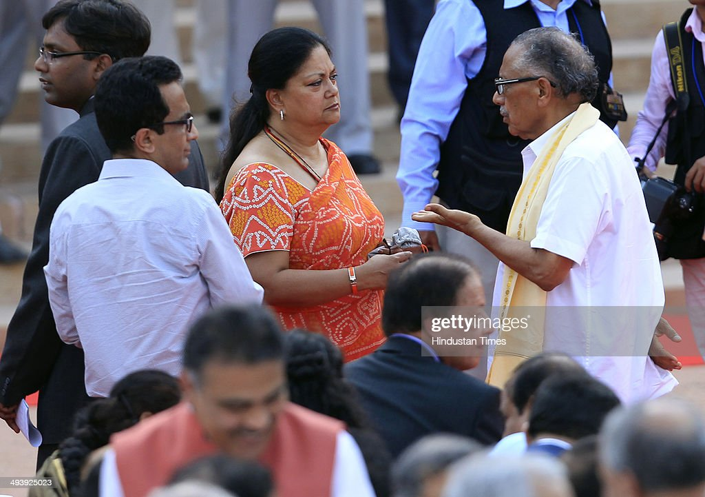 Rajasthan Chief Minister Vasundhara Raje during a swearingin ceremony for new Indian Prime Minister Narendra Modi and his cabinet ministers at...