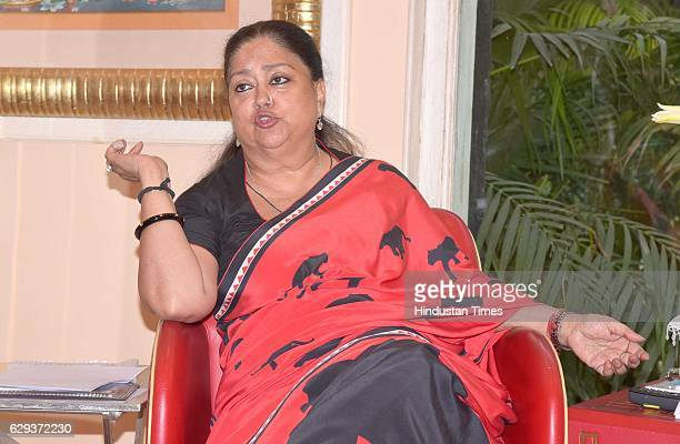 Rajasthan Chief Minister Vasundhara Raje during an interview on the eve of completing three years in power at CM residence on December 12 2016 in...