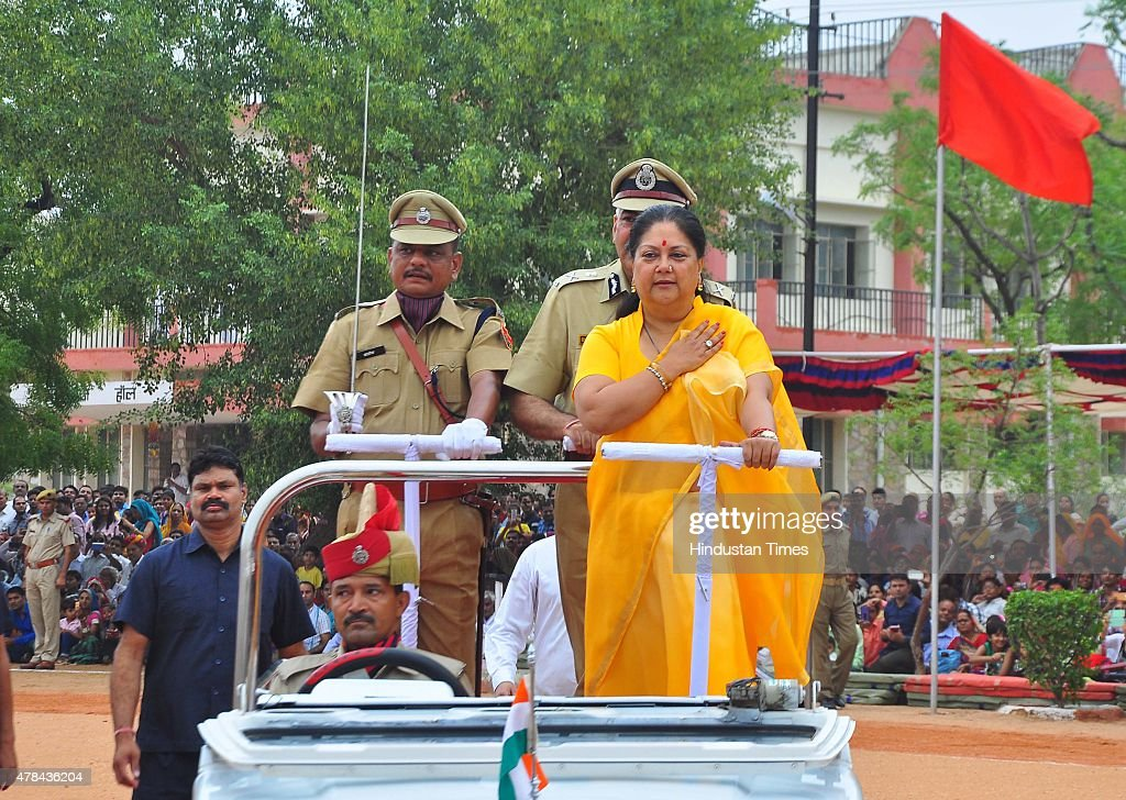 Rajasthan Chief Minister Vasundhara Raje during the Police Sub Inspectors passing out convocation function at Rajasthan Police Academy on June 25...