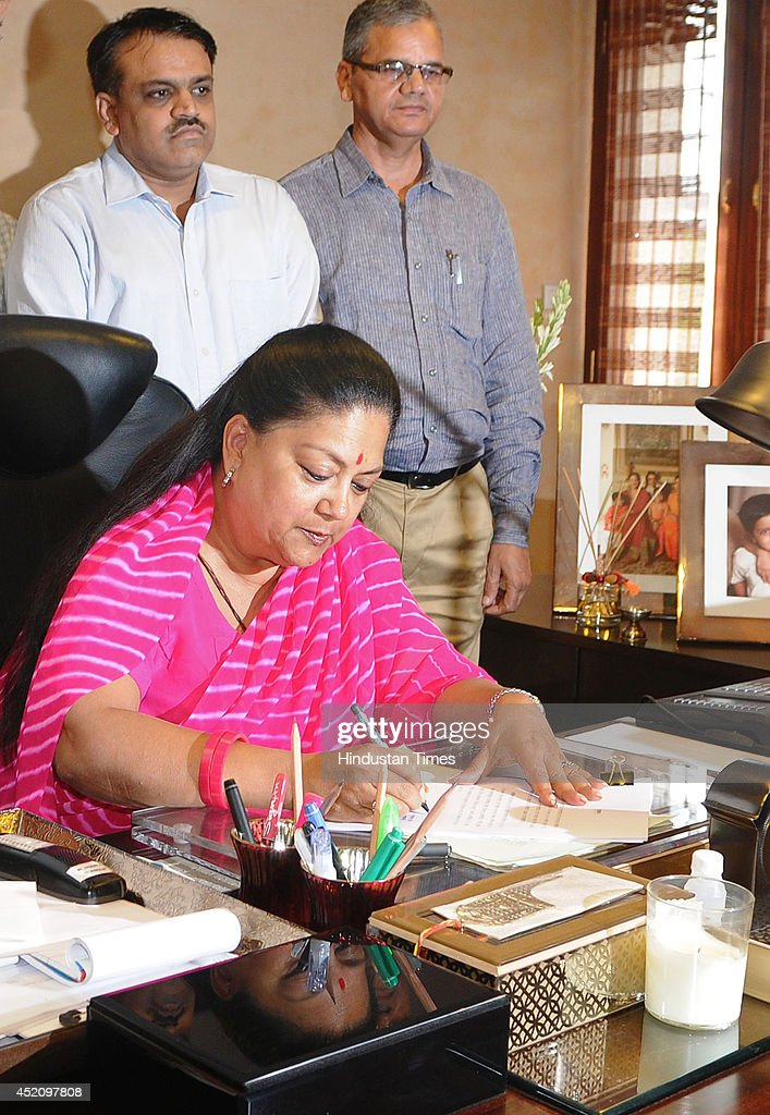 Rajasthan Chief Minister Vasundhara Raje gives final touches to the State Budget 201415 along with senior government officials at CMO on July 13 2014...