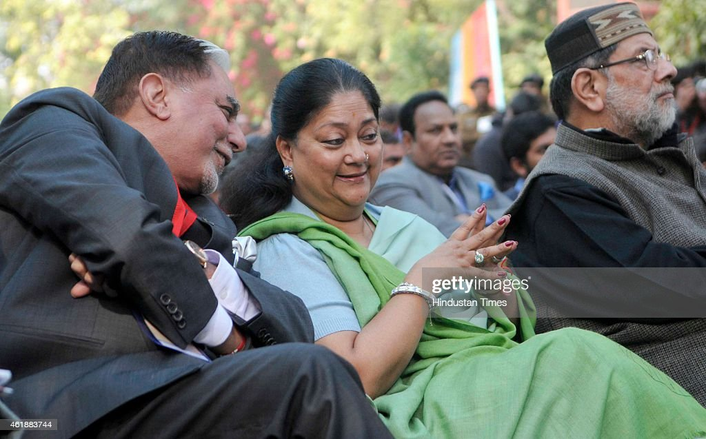 Rajasthan Chief Minister Vasundhara Raje in conversation with chairman of Essel Group Subhash Chandra at the inauguration of the Jaipur Literature...