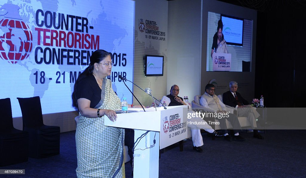 Rajasthan Chief minister Vasundhara Raje speaks at the inaugural session of Counter Terrorism Conference 2015 at Marriott Hotel on March 19 2015 in...