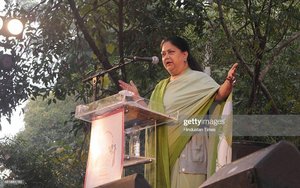 Rajasthan Chief Minister Vasundhara Raje speaks at the inauguration of the Jaipur Literature Festival at Diggi Palace on January 21 2015 in Jaipur...