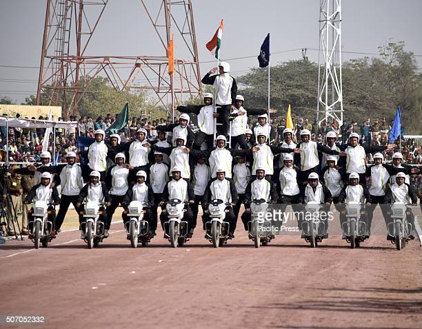 Rajasthan police daredevils perform motorbike stunts on occasion of 67th Republic day's in Bikaner