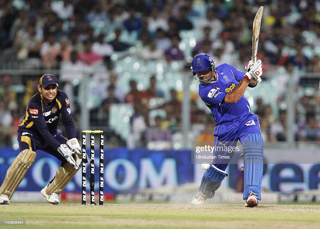 Rajasthan Royals batsman <a gi-track='captionPersonalityLinkClicked' href=/galleries/search?phrase=Owais+Shah&family=editorial&specificpeople=227194 ng-click='$event.stopPropagation()'>Owais Shah</a> plays a shot during IPL 5 cricket match played between Rajasthan Royals and Kolkata Knight Riders at Eden Garden on April 13, 2012 in Kolkata, India, Kolkata Knight Riders won by 5 wickets with 4 balls remaining.