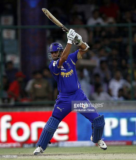 Rajasthan Royals batsman Rahul Dravid plays a shot against Delhi Daredevils during the IPL 5 T20 cricket match at Ferozshah kotla ground on April 29...