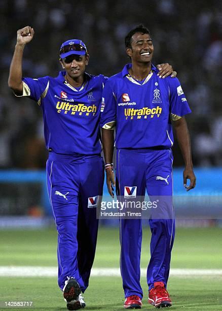 Rajasthan Royals bowler Ankeet Chavan and Rahul Dravid celebrates the wicket of Kolkata Knight Riders batsman during the match between Kolkata Knight...