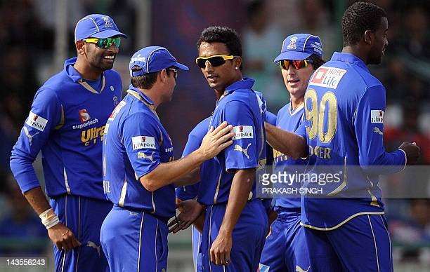 Rajasthan Royals Bowler Ankeet Chavan celebrates the wicket of Delhi Daredevils batsman Kevin Pieterson with teammates during the IPL Twenty20...