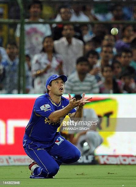 Rajasthan Royals fielder Bradley Hodge successfully takes a catch to dismiss Pune Warriors batsman Steven Smith during the IPL Twenty20 match between...