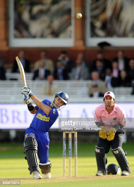 Rajasthan Royals' Justin Langer bats during the Twenty20 match at Lord's London