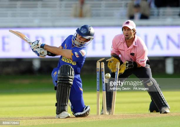 Rajasthan Royals' Justin Langer is bowled out during the Twenty20 match at Lord's London