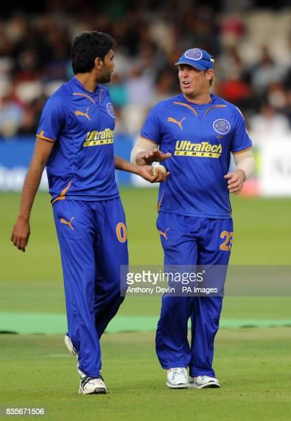 Rajasthan Royal's Munaf Patel and captain Shane Warne during the Twenty20 match at Lord's London
