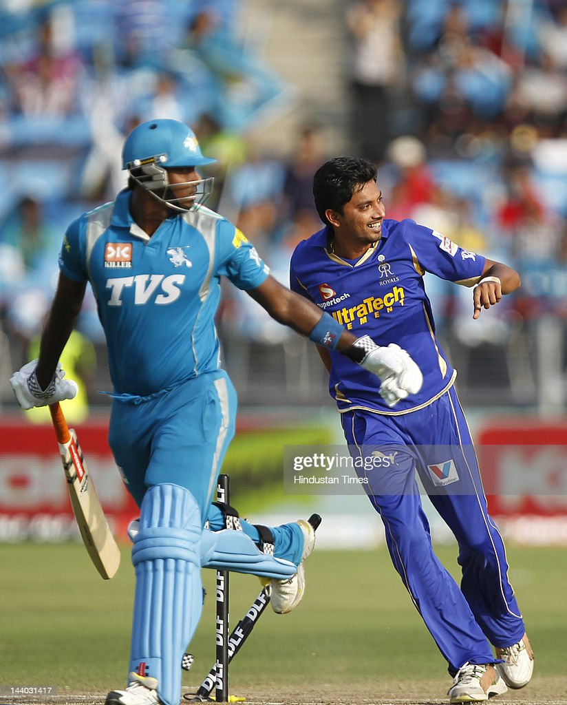 Rajasthan Royals player Siddharth Trivedi celebrates the runout of Pune Warriors player Angelo Mathews during the IPL 5 T20 match between Pune Warriors and Rajasthan Royals at Subrata Roy Sahara Stadium on May8, 2012 in Pune, India. Chasing the target of 126 runs Rajasthan Royals win the match by wicket and 22 balls to go.