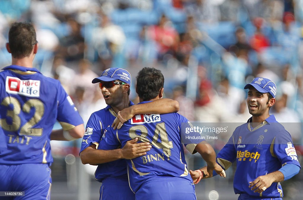 Rajasthan Royals player Stuart Binny and Rajasthan Royals captain Rahul Dravid celebrate the wicket of Pune Warriors player Michael Clarke during the IPL 5 T20 match between Pune Warriors and Rajasthan Royals at Subrata Roy Sahara Stadium on May8, 2012 in Pune, India. Chasing the target of 126 runs Rajasthan Royals win the match by wicket and 22 balls to go.
