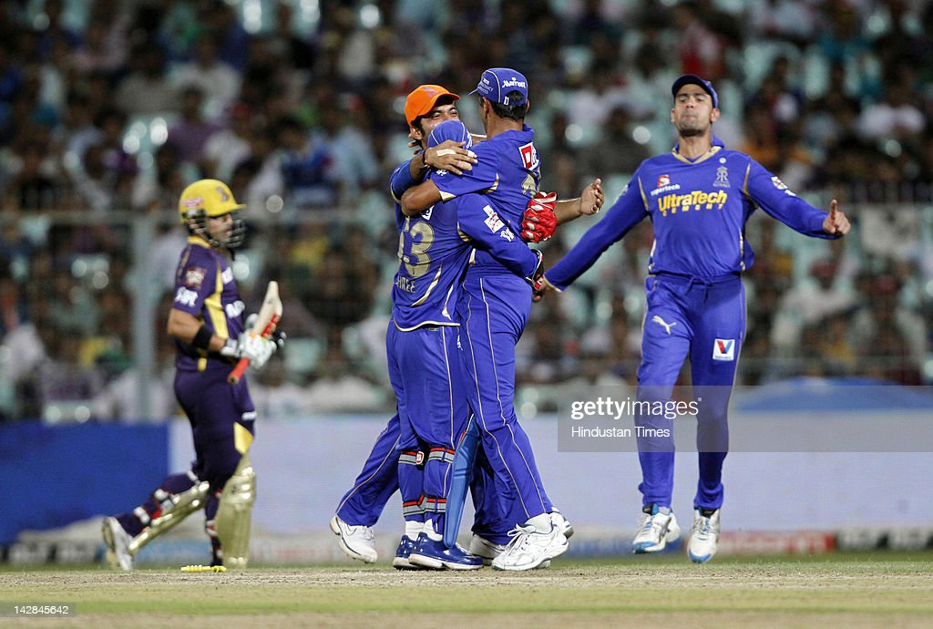 Rajasthan Royals players celebrate after the dismissal of Kolkata Knight Riders captain Goutam Gambhir during IPL 5 cricket match played between Rajasthan Royals and Kolkata Knight Riders at Eden Garden on April 13, 2012 in Kolkata, India, Kolkata Knight Riders won by 5 wickets with 4 balls remaining.