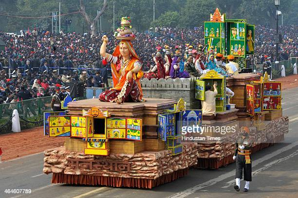 Rajasthan tableau passing through the saluting base during the full dress rehearsal for Republic Day Parade at Rajpath on January 23 2014 in New...