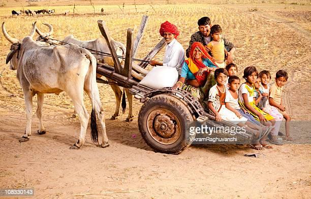 Rajasthani Rural Family enjoying a Bullock Cart Ride in Rajasthan