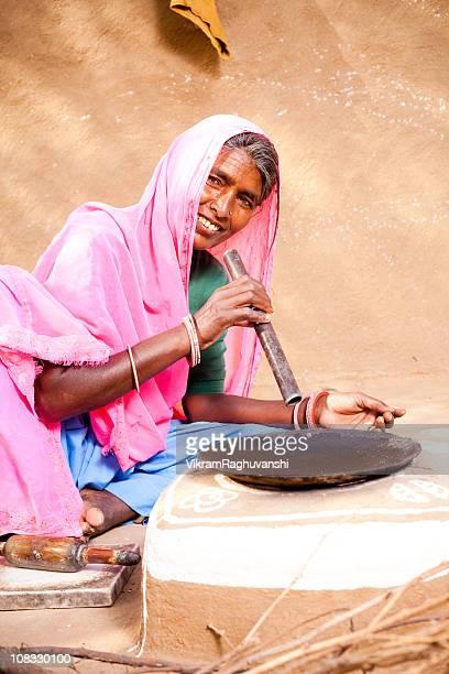 Rajasthani Woman preparing food