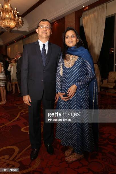 Rajat and Pinky Dalmia during the Luxembourg National Day celebration at Taj Mahal Hotel on June 23 2017 in New Delhi India The Luxembourg National...