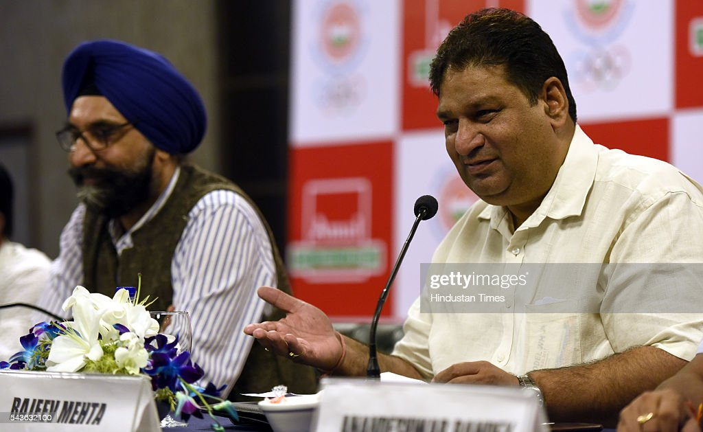 Rajeev Mehta Secretary General Indian Olympic Association ( IOA) ( R) RS Sodhi Managing Director Gujarat Cooperative Milk marketing federation ( Amul) ( L) during the announcement of AMUL sponsorship for the RIO 2016 Olympic gameson June 29, 2016 in New Delhi, India.
