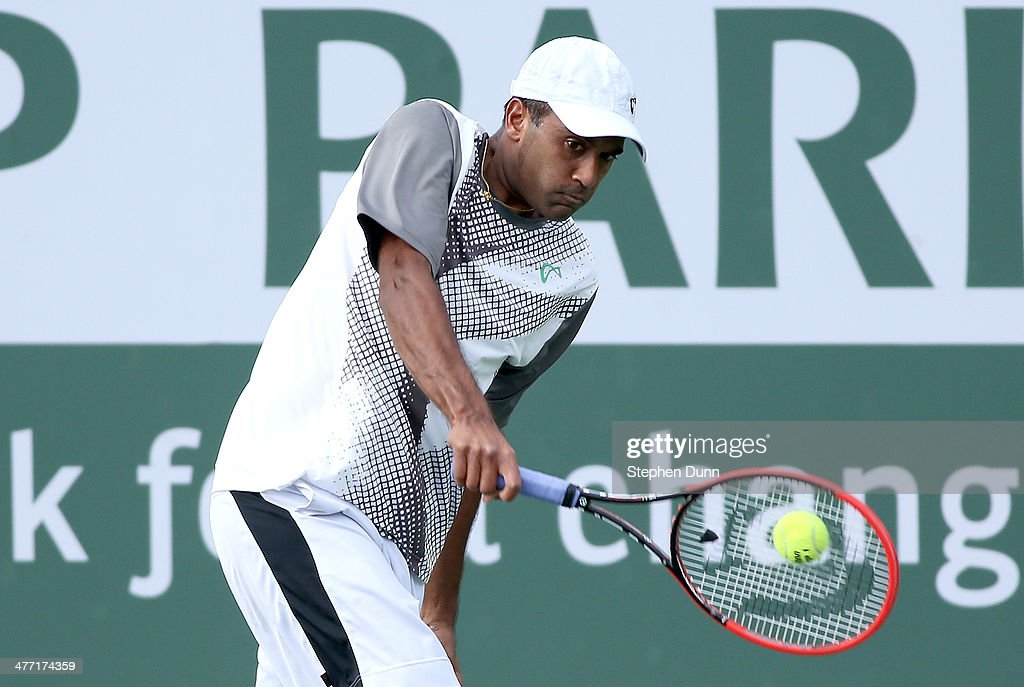 <a gi-track='captionPersonalityLinkClicked' href=/galleries/search?phrase=Rajeev+Ram&family=editorial&specificpeople=2089360 ng-click='$event.stopPropagation()'>Rajeev Ram</a> hits a return to Horacio Ceballos of Argentina during the BNP Paribas Open at Indian Wells Tennis Garden on March 7, 2014 in Indian Wells, California.