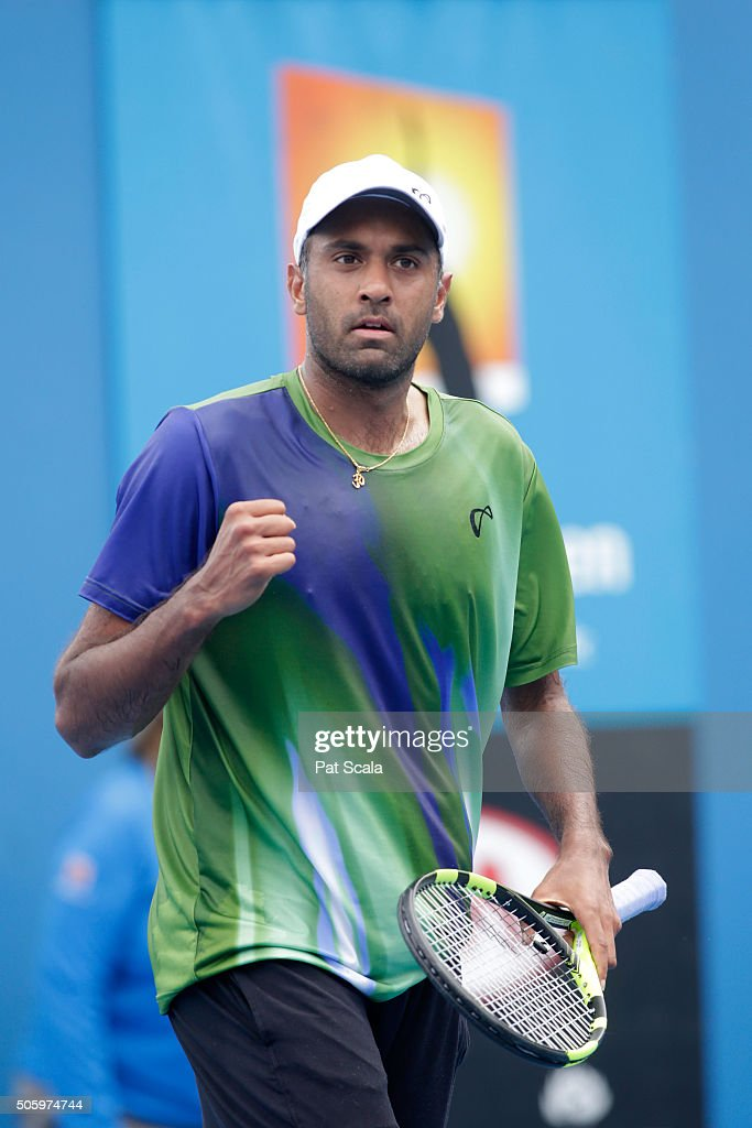 Rajeev Ram of the United States celebrates in his second round match against Stephane Robert of France during day four of the 2016 Australian Open at...