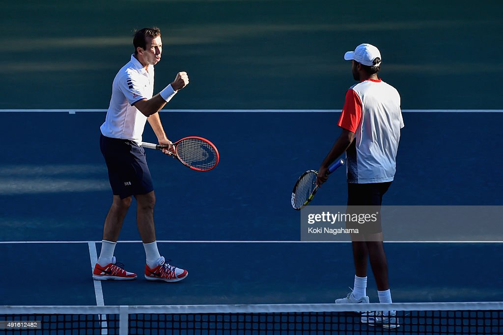 Rajeev Ram of USA and Radek Stepanek of Czech Republic compete against Alexander Peya of Austria and Bruno Soares of Brazil during the men's doubles...