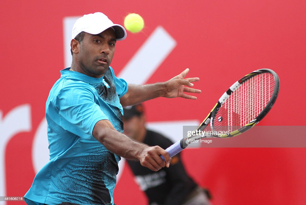 Rajeev Ram of USA hits the ball during a match against Alejandro Falla of Colombia as part of Claro Open Colombia 2015 at Centro de Alto Rendimiento...
