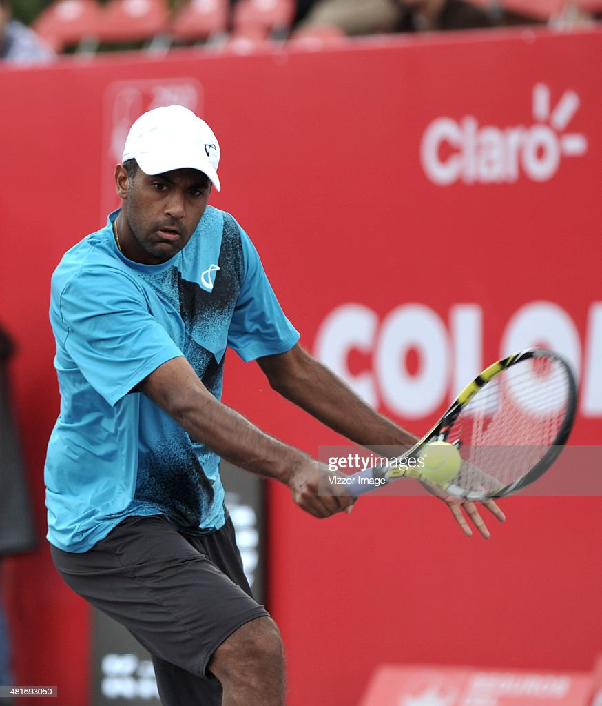 Rajeev Ram of USA plays a backhand shot during a match against Adrian Mannarino of France as part of ATP Claro Open Colombia 2015 at Centro de Alto...