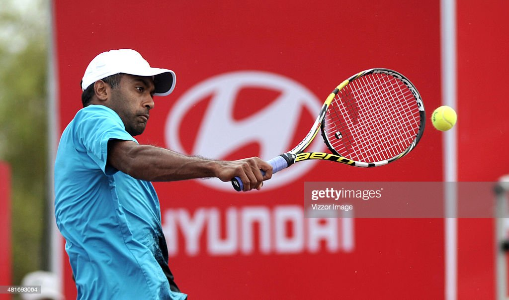 Rajeev Ram of USA plays a backhand shot during a match against Adrian Mannarino of France as part of ATP Claro Open Colombia at High Performance...