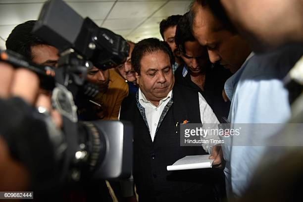 Rajeev Shukla Chairman of Indian Premier League coming out of BCCI headquarters after BCCI 87th Annual General Meeting on September 21 2016 in Mumbai...