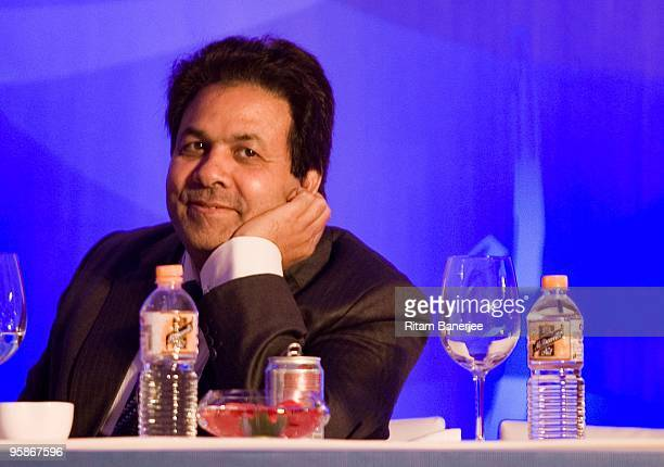 Rajeev Shukla chairman of the BCCI Media and Finance Committee attends the Indian Premier League Auction 2010 on January 19 2010 in Mumbai India