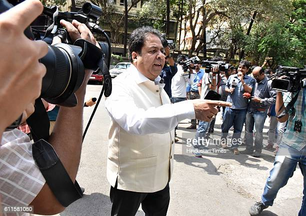 Rajeev Shukla comes out after a meeting at BCCI office on September 30 2016 in Mumbai India With the bilateral relations deteriorating BCCI on Friday...