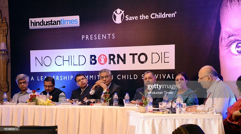 Rajeev Tondon, UP Unisef officer Adele Khudr, alumni of IIM Ahmedabad AK Dwivedi, UP Chief Secretary Vishwajeet Kumar, PK Prabhakar & Alkesh Wadhwani are on stage during the HT leadership Summit on Child Survival at Hotel Taj on March 2, 2013 in Lucknow, India.