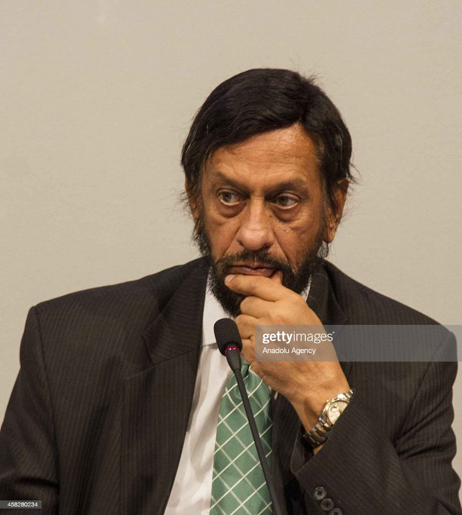 Rajendra K. Pachauri, chair of the IPCC, attends the press conference about the fifth assessment report during the Intergovernmental Panel on Climate Change (IPCC) at the Tivoli Hotel & Congress Center in Copenhagen, Denmark on November 2, 2014.