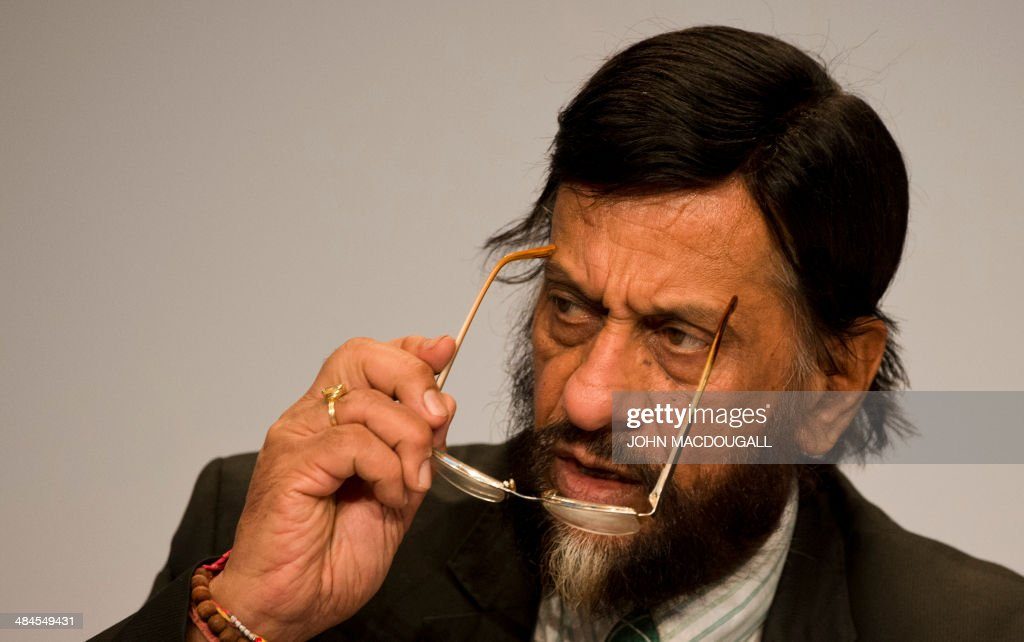 <a gi-track='captionPersonalityLinkClicked' href=/galleries/search?phrase=Rajendra+Pachauri&family=editorial&specificpeople=4128691 ng-click='$event.stopPropagation()'>Rajendra Pachauri</a>, Chairman of the Intergovernmental Panel on Climate Change (IPCC) addresses a press conference following the release of the IPCC report 'Climate Change 2014, Mitigation of Climate Change' in Berlin on April 13, 2014. The world has a likely chance of meeting the UN's warming limit of two degrees Celsius (3.6 degrees Fahrenheit) if it cuts annual greenhouse gas emissions 40-70 percent by 2050, especially from energy, a top expert panel said Sunday, April 13, 2014. MACDOUGALL