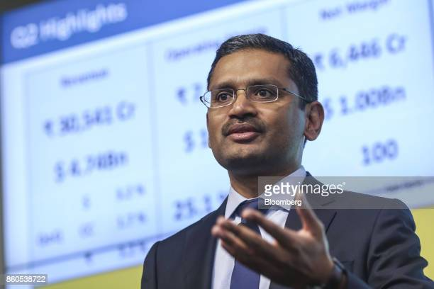 Rajesh Gopinathan chief executive officer and managing director of Tata Consultancy Services Ltd speaks during an earnings announcement news...