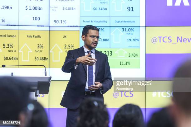 Rajesh Gopinathan chief executive officer and managing director of Tata Consultancy Services Ltd gestures while speaking during an earnings...