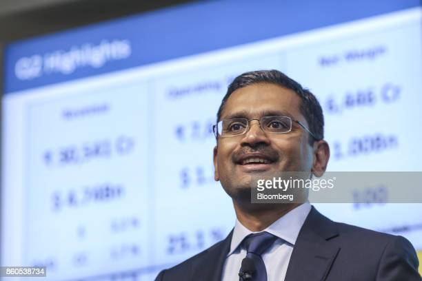 Rajesh Gopinathan chief executive officer and managing director of Tata Consultancy Services Ltd reacts during an earnings announcement news...