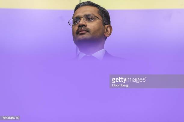 Rajesh Gopinathan chief executive officer and managing director of Tata Consultancy Services Ltd pauses during an earnings announcement news...