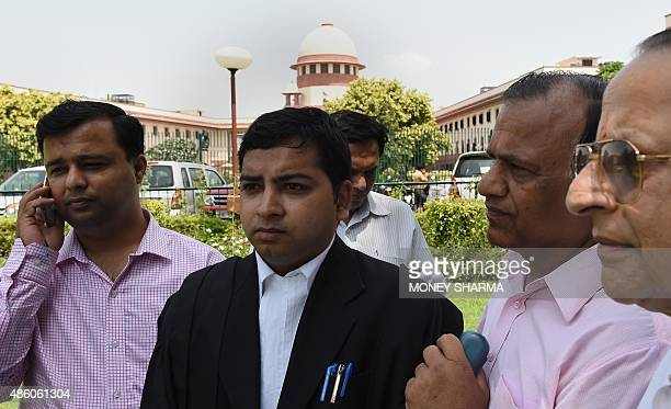 Rajesh Jain one of the lawyers representing the Jain community talks to the media after the Supreme court judgement on 'Santhara' in New Delhi on...