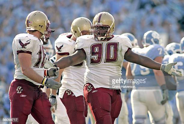 J Raji and Brian Toal of the Boston College Eagles talk after giving up a field goal to the North Carolina Tar Heels during an Atlantic Coast...