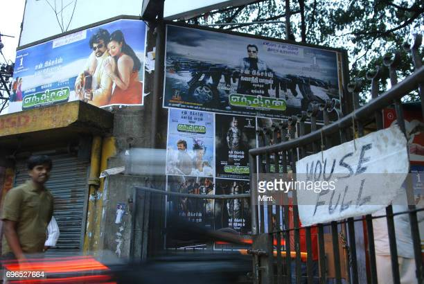RajinikanthAishwarya starrer Endhiran tamil movie running in Cauvery Theatre in Bangalore Outside view of the theater before the evening show starts