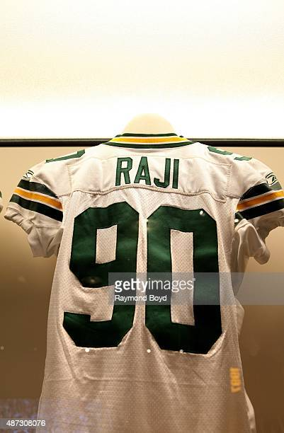 J Raji's January 23 2011 game worn jersey is encased and on display inside the Green Bay Packers 'Hall Of Fame' inside the Lambeau Field atrium on...