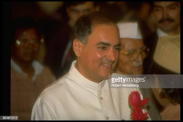 PM Rajiv Gandhi w supporters re his resignation after defeat of his Congress Party in natl elections