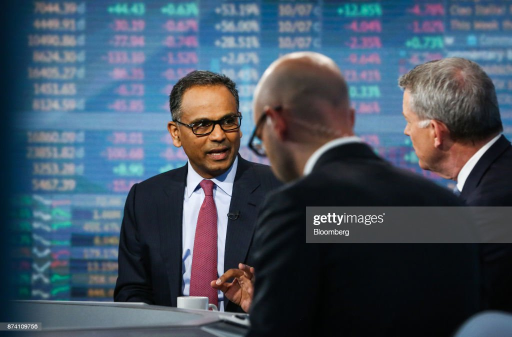 Rajiv Jain, chairman and chief investment officer of GQG Partners LLC, speaks during a Bloomberg Television interview in New York, U.S., on Tuesday, Nov. 14, 2017. Jain made the bullish case for investing in Russia on growth and earnings. Photographer: Christopher Goodney/Bloomberg via Getty Images